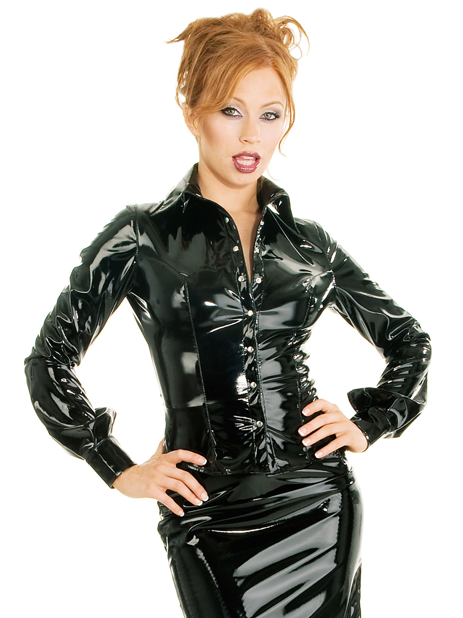 honour women 39 s sexy shirt blouse in pvc black with shaped hem classic trimming ebay. Black Bedroom Furniture Sets. Home Design Ideas