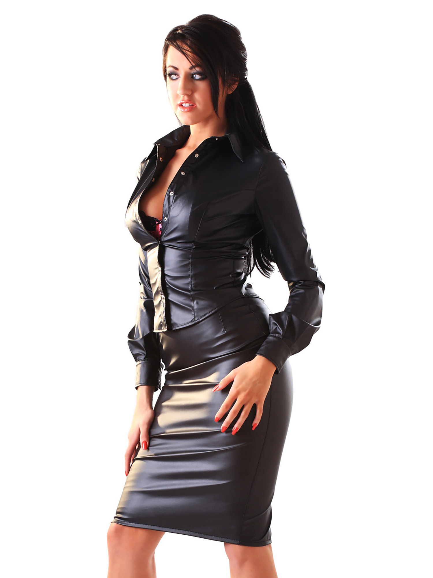 Original Women Slip On Pencil Latex Skirt Rubber Latex Dress Suspender With