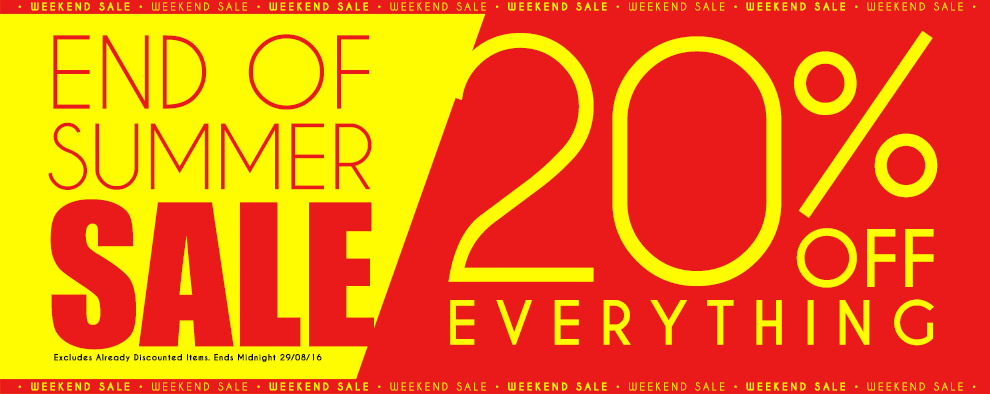 End Of Summer 20% Off Everything SALE